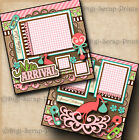 NEW ARRIVAL BABY GIRL 2 premade scrapbook pages paper printed by digiscrap