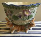 Fitz & Floyd Halcyon Footed Serving Bowl Easter Rabbits Bunnies Classics Flowers