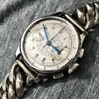 Longines stainless steel 13 ZN chronograph - snail track dial - stepped case.