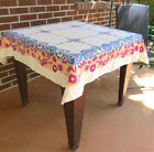 Vintage Cotton Tablecloth  Blue  Red Flowers Peach Border