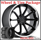 22 BLAQUE DIAMOND BD23 CONCAVE BLACK WHEEL  TIRE PACKAGE FITS TESLA MODEL S