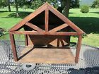LARGE Handmade Folk Art Wooden Christmas Nativity Manger Stable Creche LOOK