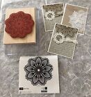 Stampin Up HELLO DOILY Rubber Stamp Background Flower Medallion Lace Delicate