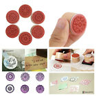 6 Pcs Rubber Stamp Set Floral Pattern Wood Flower Craft Card Clay Gift Tags Mail