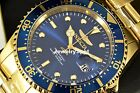 Invicta Pro Diver 43mm Coin Edge 18k Gold Tone Blue Sunray Dial SS Bracelet Watc
