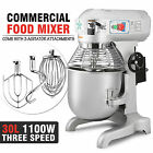 30QT DOUGH FOOD MIXER BLENDER 1.5HP CAKE BAKERY MIXING TOOL STAINLESS STEEL