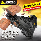 Safetoe Safety Shoes Boots Men Steel Toecap Nubuck Breathable Leather US Size
