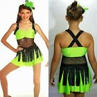 Fearless Dance Costume LIME Dress and Rhinestone Choker Clearance Adult