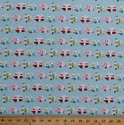 Camping Campers Trailers Vacation Travel Aqua Cotton Fabric Print BTY D37528