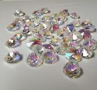 100 Lot Clear AB Coated Rainbow Crystal Chandelier 14MM Glass Octagon Beads