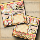 BABY GIRL DELIGHT pre made scrapbook pages paper piecing layout DIGISCRAP A0053