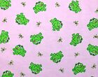 Silly Frogs and Yellow Dragonflies on Pink FLANNEL Fabric 46 wide