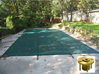 Rectangle GREEN MESH Safety Pool Cover w Wood Deck Anchors 12 Year Warranty