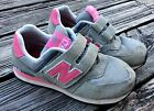 Girl NEW BALANCE 574 Suede Mesh Velcro Sneakers Running Walking Shoes Size 2 VGC