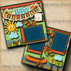 HAPPY CAMPERS camping 2 premade scrapbook pages paper piecing layout DIGISCRAP