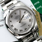 Rolex Datejust 36mm SS Silver Color Roman Numeral Dial Oyster Men's Watch 116200