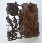 Antique Batik Handmade Copper Iron Textile Block Fabric Print Stamp Floral Tulip