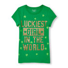 TCP CHILDRENS PLACE Green Glitter St Patricks Day Shamrock Tee Shirt S 5 6