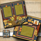 LETS EAT THANKSGIVING 2 premade scrapbook pages paper piecing BY DIGISCRAP