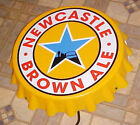 NEWCASTLE BROWN ALE Beer Bottle Cap Neon Light Wall Sign NOS