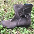 Alberto Fermani Grey Taupe Suede Ankle Boots w buckle Size 39