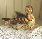 Beautiful multi colored Glass Duck Paperweight Figurine approx 3 4
