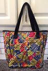 Talbots Floral Print Hobo Handbag with Navy Leather Trim VGUC