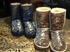 Two pair Bronze and Blue Sequin Ugg Boots 8 Barely used Great price