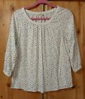NWOT WHITE BLACK  TAN POLKA DOT PRINT KNIT TOP FROM SONOMA SIZE SMALL