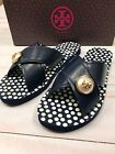 Tory Burch Womens Sandals Size 7 Leather Melody Criss Cross Navy Polka Dots