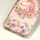 For iPhone 7 7+ 8 8PLUS X Clear TPU Rubber Case Cover Unicorn Flower Wreath