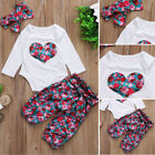 Adorable Baby Girls Tops Romper Floral Long Pants 3Pcs Outfits Set Clothes 0 24M