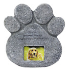 Paw Print Pet Memorial Stone Marker Grave Tombstone Garden Marker Ashes Frame
