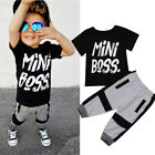 US Toddler Kids Baby Boy Cotton T shirt Tops Harem Pants Outfits Set Clothes New