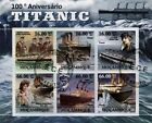 Sinking of RMS TITANIC Ocean Liner Ship 6v Stamp Sheet (2011 Mozambique)