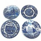 4 Bursley Wood & Sons Collector Plates Shakespeares Country Blue White Ironstone