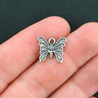 12 Butterfly Charms Antique Silver Tone SC3915