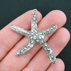 1 Large Starfish Charms Antique Silver Tone SC3880