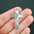 2 Cross Charms Antique Silver Tone Large Size Incredible Detail Jesus SC4978