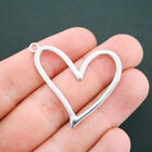 2 Heart Charms Antique Silver Tone Large Size Connector SC4951