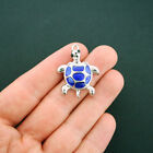 2 Turtle Charms Silver Plated Enamel Fun and Colorful E239