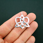 4 Celtic Knot Heart Charms Silver Tone 2 Sided Unique Side Loop SC5634
