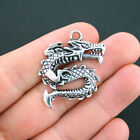 4 Chinese Dragon Charms Antique Silver Tone Large Size SC2999