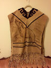 Vintage Mens 70s Western Leather Fringe Airbrushed Wolf Design Suede Poncho