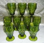 10 Vintage Anchor Hocking Green Georgian Honeycomb Thumbprint Tumblers 5 1/2in