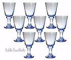 Libbey Blue Sirrus Glassware Wine Water Goblets Set of 8 Ribbed NICE
