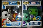 Funko Pop Comikaze 2016 exclusive GITD She-Hulk and Chrome Colossus w protector