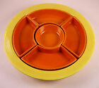 FIESTA - VINTAGE RELISH TRAY - COMPLETE - YELLOW AND RED COMBINATION