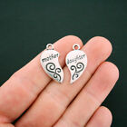 4 Mother Daughter Heart Charms Antique Silver Tone 2 Piece Set SC6028