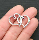 5 Double Heart Charms Antique Silver Tone 2 Sided SC3124